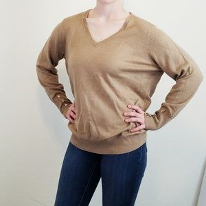 JM Collection Tan Sweater V- Neck 0X